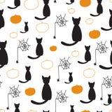 Μαύρο άνευ ραφής διανυσματικό σχέδιο γατών και κολοκυθών για αποκριές Στοκ εικόνα με δικαίωμα ελεύθερης χρήσης