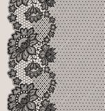 Μαύρο άνευ ραφής σχέδιο κορδελλών δαντελλών Στοκ Εικόνες
