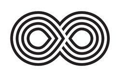 Μαύρο άπειρο κτυπήματος βουρτσών, αιωνιότητα ή διανυσματικό σύμβολο Moebius απεικόνιση αποθεμάτων
