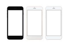 Μαύρο, άσπρο ασημένιο και άσπρο χρυσό έξυπνο τηλέφωνο που απομονώνεται Άσπρη οθόνη για το πρότυπο Στοκ φωτογραφία με δικαίωμα ελεύθερης χρήσης