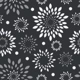 Μαύρο άσπρο, γκρίζο floral υπόβαθρο Μονοχρωματικός διανυσματικός άνευ ραφής άνευ ραφής λουλουδιών απεικόνιση αποθεμάτων