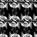 Μαύρο άσπρο, γραφικό, αφηρημένο άσπρο σχέδιο χρώματος σε ένα μαύρο υπόβαθρο Ελεύθερη απεικόνιση δικαιώματος