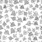 Μαύρο άσπρο διακοσμητικό άνευ ραφής σχέδιο φύλλων, εθνικό ύφος, VE Στοκ Φωτογραφία