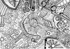 Μαύρο άσπρο διακοσμητικό αφηρημένο σχέδιο, λαβύρινθος των διακοσμήσεων Στοκ Εικόνες