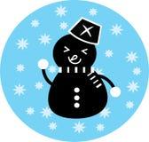 Μαύρο άτομο χιονιού εικονιδίων Στοκ Εικόνα