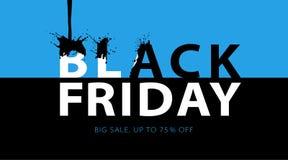 Μαύρο έμβλημα πώλησης Παρασκευής με τους μαύρους παφλασμούς μελανιού Σχέδιο τυπογραφίας Promo ελεύθερη απεικόνιση δικαιώματος