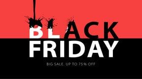 Μαύρο έμβλημα πώλησης Παρασκευής με τους μαύρους παφλασμούς μελανιού Σχέδιο τυπογραφίας Promo διανυσματική απεικόνιση