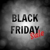 Μαύρο έμβλημα πώλησης Παρασκευής στο υπόβαθρο bokeh Στοκ Εικόνες