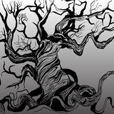 Μαύρο δέντρο στο ύφος του χεριού που σύρεται Στοκ Φωτογραφίες