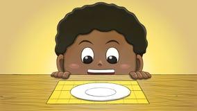 Μαύρο αγόρι που εξετάζει το κενό πιάτο Στοκ φωτογραφία με δικαίωμα ελεύθερης χρήσης