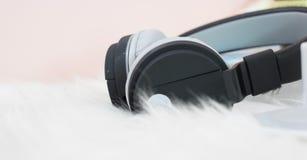 μαύρο ακουστικό Στοκ φωτογραφία με δικαίωμα ελεύθερης χρήσης