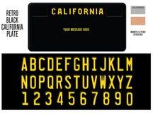 Μαύρο αναδρομικό σχέδιο πινακίδων αριθμού κυκλοφορίας Καλιφόρνιας απεικόνιση αποθεμάτων
