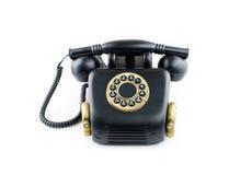 Μαύρο αναδρομικό τηλέφωνο - εκλεκτής ποιότητας τηλέφωνο που απομονώνεται επάνω   Στοκ Εικόνες