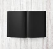 Μαύρο ανοικτό βιβλίο στο άσπρο ξύλο τρισδιάστατος δώστε Στοκ εικόνα με δικαίωμα ελεύθερης χρήσης