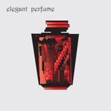 Μαύρο αρχικό κόκκινο ντεκόρ σχεδίου μπουκαλιών αρώματος στο ελαφρύ διάνυσμα υποβάθρου Στοκ εικόνες με δικαίωμα ελεύθερης χρήσης