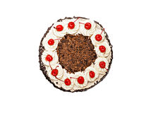 Μαύρο δασικό κέικ σε ένα άσπρο υπόβαθρο Στοκ Φωτογραφίες