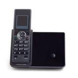 Μαύρο ασύρματο ασύρματο τηλέφωνο που απομονώνεται σε ένα λευκό Στοκ Φωτογραφία