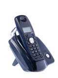 Μαύρο ασύρματο τηλέφωνο που στηρίζεται στη βάση Στοκ Φωτογραφίες