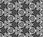 Μαύρο αφηρημένο άνευ ραφής πρότυπο λουλουδιών Στοκ Εικόνες