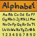 Μαύρο αλφάβητο πηγών - απλοί επιστολές και αριθμοί, ampersand και at-sign σύμβολο Στοκ φωτογραφία με δικαίωμα ελεύθερης χρήσης