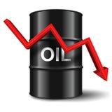 Μαύρο βαρέλι πετρελαίου με το κόκκινο βέλος στο άσπρο υπόβαθρο Στοκ Εικόνες