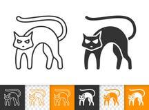 Μαύρο γατών διανυσματικό εικονίδιο γραμμών αποκριών απλό μαύρο απεικόνιση αποθεμάτων