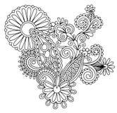 Μαύρο γραμμών σχέδιο λουλουδιών τέχνης περίκομψο, ουκρανικά Στοκ εικόνα με δικαίωμα ελεύθερης χρήσης