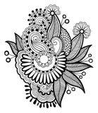 Μαύρο γραμμών σχέδιο λουλουδιών τέχνης περίκομψο, ουκρανικά Στοκ Εικόνα