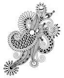 Μαύρο γραμμών σχέδιο λουλουδιών τέχνης περίκομψο, ουκρανικά Στοκ Εικόνες