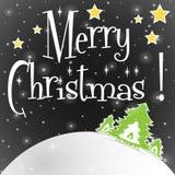 Μαύρο διάνυσμα ευχετήριων καρτών Χαρούμενα Χριστούγεννας απεικόνιση αποθεμάτων