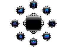 μαύρο διάνυσμα κουμπιών Στοκ Εικόνες