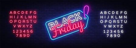 Μαύρο διάνυσμα σημαδιών νέου πώλησης Παρασκευής Μαύρο σημάδι νέου προτύπων σχεδίου πώλησης Παρασκευής, ελαφρύ έμβλημα, πινακίδα ν Διανυσματική απεικόνιση