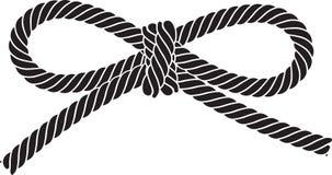 Μαύρο διανυσματικό τόξο σχοινιών που απομονώνεται σε ένα άσπρο υπόβαθρο Διανυσματική απεικόνιση