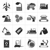 Μαύρο διαφορετικό είδος εικονιδίων επιχειρήσεων και βιομηχανίας ελεύθερη απεικόνιση δικαιώματος