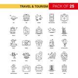 Μαύρο εικονίδιο γραμμών ταξιδιού και τουρισμού - SE εικονιδίων περιλήψεων 25 επιχειρήσεων ελεύθερη απεικόνιση δικαιώματος