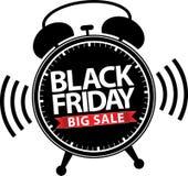 Μαύρο εικονίδιο ξυπνητηριών πώλησης Παρασκευής μεγάλο με την κόκκινη κορδέλλα, διάνυσμα ι Στοκ Εικόνα