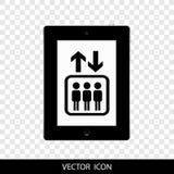 Μαύρο εικονίδιο σημαδιών ανελκυστήρων, που απομονώνεται στο άσπρο υπόβαθρο Ένας διεθνής ανελκυστήρας, σημάδι ανελκυστήρων, ένα ει διανυσματική απεικόνιση