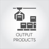 Μαύρο εικονίδιο της έννοιας προϊόντων παραγωγής Σύγχρονος εξοπλισμός για τα εργοστάσια και τις εγκαταστάσεις απεικόνιση αποθεμάτων