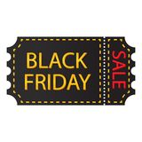 Μαύρο εισιτήριο με την πώληση για τη μαύρη Παρασκευή ελεύθερη απεικόνιση δικαιώματος
