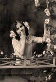 μαύρο εκλεκτής ποιότητας λευκό πορτρέτου εικόνας Στοκ Εικόνα