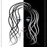 Μαύρο λευκό κοριτσιών Στοκ εικόνα με δικαίωμα ελεύθερης χρήσης