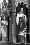 μαύρο λευκό Μέσα στην ενισχυμένη μεσαιωνική σαξονική εκκλησία Codlea, Τρανσυλβανία, Ρουμανία στοκ εικόνα με δικαίωμα ελεύθερης χρήσης