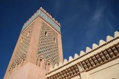 μαύρο λευκό μουσουλμανικών τεμενών του Μαρακές Μαρόκο Στοκ φωτογραφία με δικαίωμα ελεύθερης χρήσης