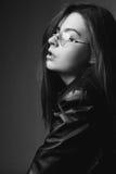μαύρο λευκό πορτρέτου κοριτσιών Στοκ Εικόνες