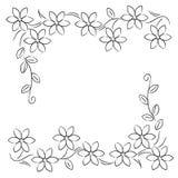 Μαύρο λευκό συνόρων γραμμών λουλουδιών Στοκ Εικόνες