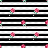 Μαύρο λευκό σχεδίων lollipop Στοκ Εικόνα