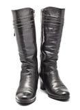 μαύρο θηλυκό δέρμα μποτών Στοκ Εικόνα