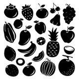 Μαύρο διάνυσμα σχεδίου εικονιδίων κινούμενων σχεδίων φρούτων ελεύθερη απεικόνιση δικαιώματος