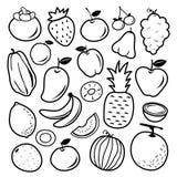 Μαύρο διάνυσμα σχεδίου εικονιδίων κινούμενων σχεδίων φρούτων απεικόνιση αποθεμάτων