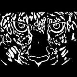 Μαύρο διάνυσμα σχεδίου προσώπου τιγρών ελεύθερη απεικόνιση δικαιώματος